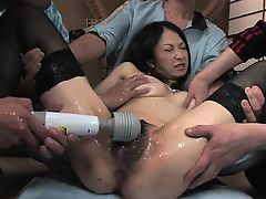 Vixen with amazing tits gets toy play before gang bang