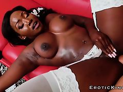 Ebony beauty housekeeper enjoys big white cock