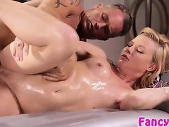 Blonde masseuse Nicole fucks her neigbor
