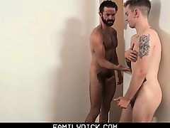 FamilyDick - Angry stepdad facefucks son after shower