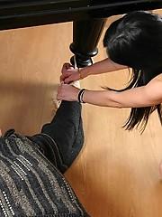 Pretty student humiliates her submissive music teacher at a grand piano
