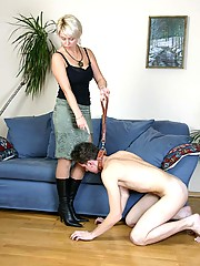 Coming home after work mistress tramples skinny slave with high heel boots