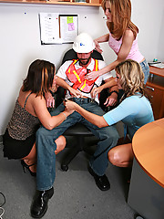 Claire, Jessica and Riley were pissed they had to stay late at work, so these three sexy dominant ladies decide to initiate an unsuspecting constructi