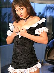 A tight Asian maid gets her butt banged balls deep