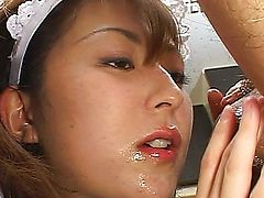 Asian maid pleases her boss