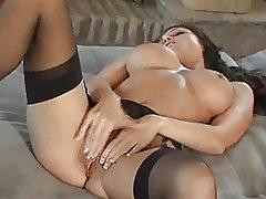 Busty Brunette Jessica Rubs Her Clit