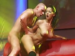 Hard fuck on public stage