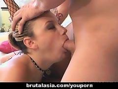 Asian slag Lucy Lee enjoys a kinky FFM threesome