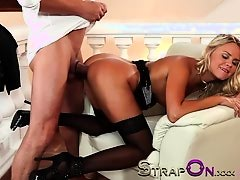 StrapOn Sensual double penetration sex with real lovers