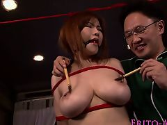Busty japanese bondage babe pussy grinded with cock