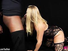 Blonde sucks monster black cock before being fucked