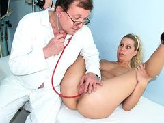 Hairy pussy blonde abused by weird gynecology doctor