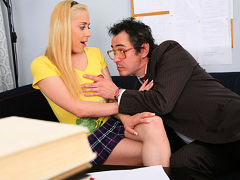 TrickyOldTeacher - Hot sexy blonde student pussy fucked by older teacher till he cums