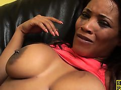 British ebony skank punished with hard cock