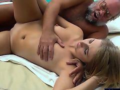 Russian blonde hottie Aria Logan give a massage to a grandpa